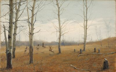 Landscape with White-tailed Deer by Ernest Thompson Seton