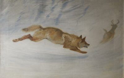 Wolf Chasing Deer painting by Ernest Thompson Seton