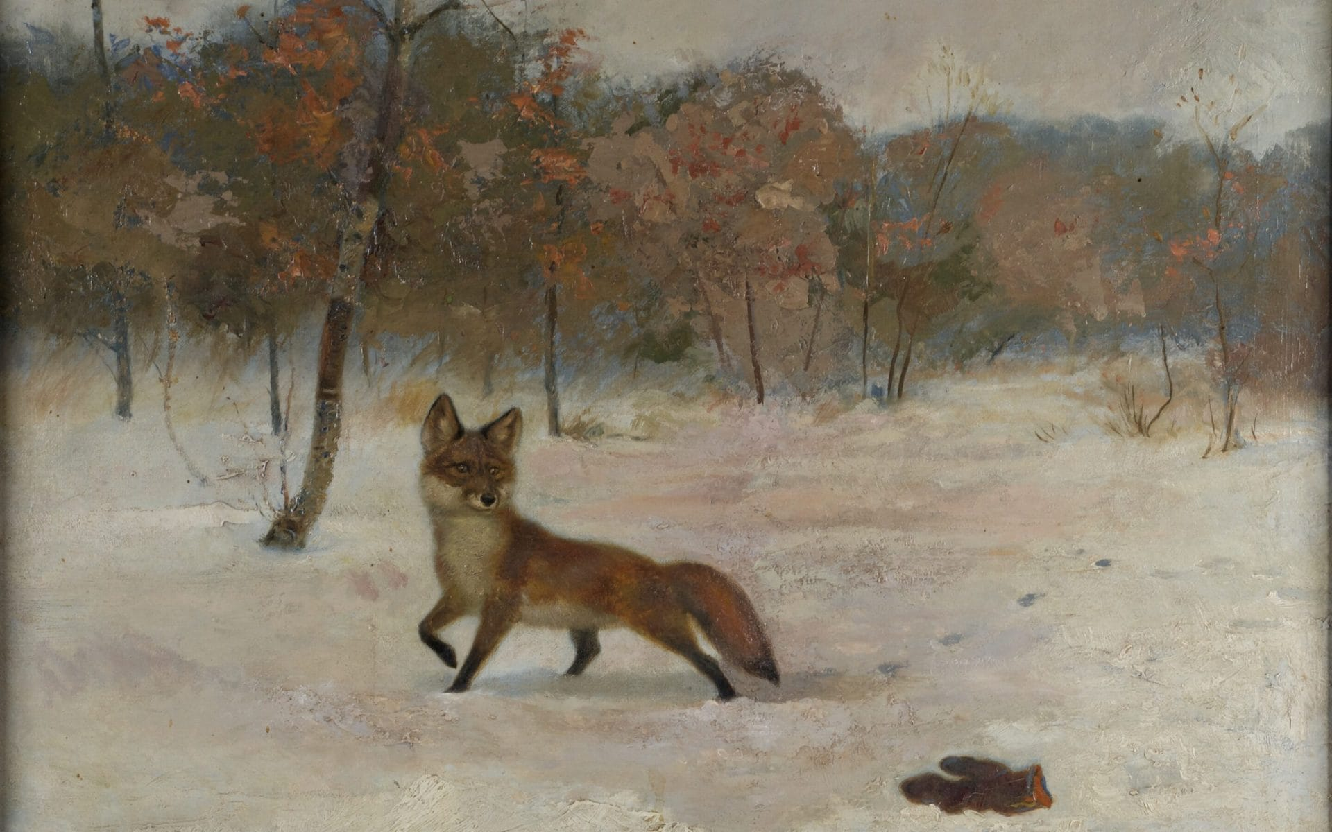 Fox and Mitten Painting by Ernest Thompson Seton