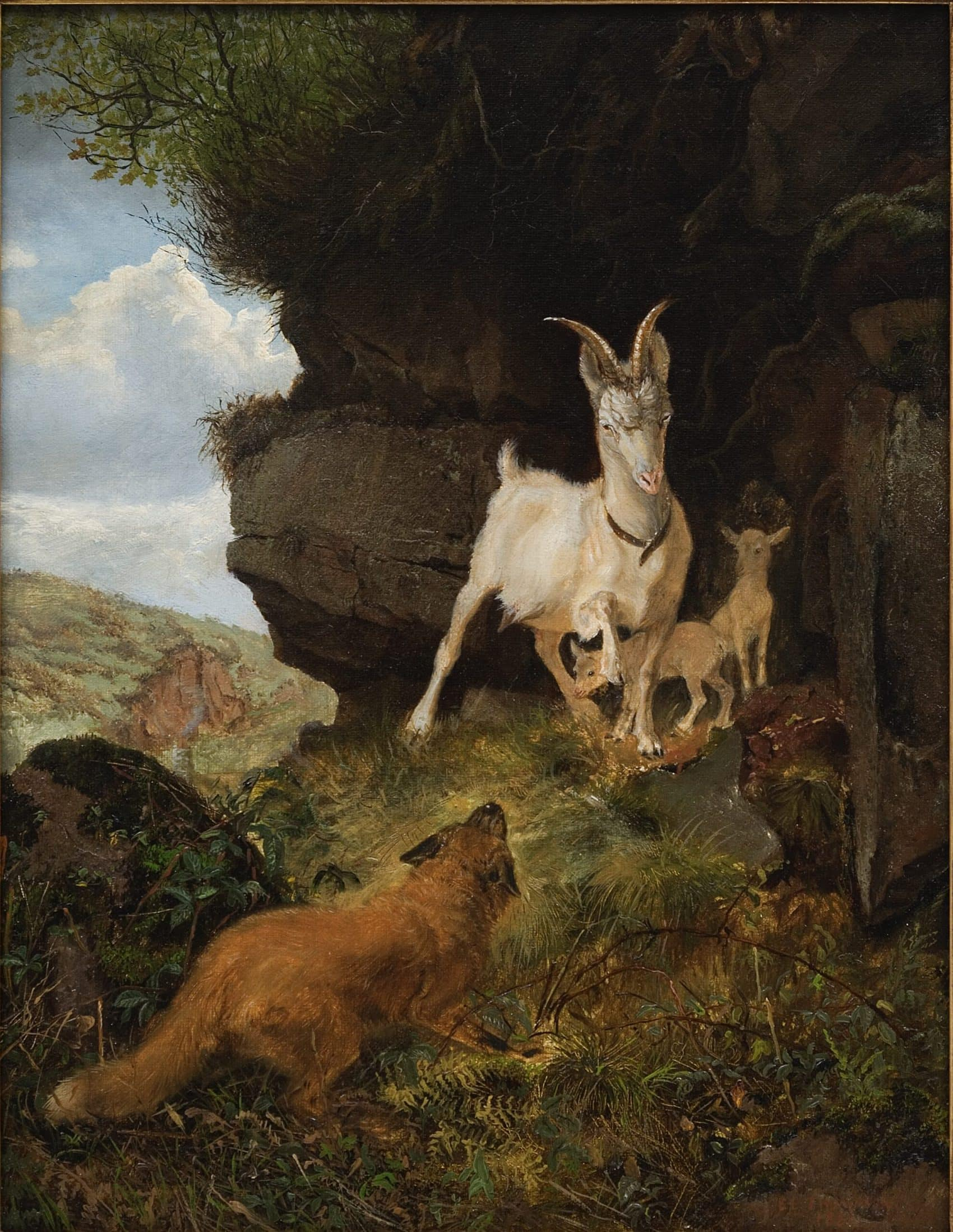 Fox and Goats painting by Ernest Thompson Seton